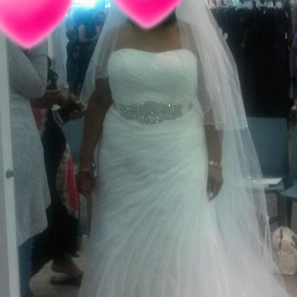 7e7fa13bce173 David's Bridal Dresses   Wedding Dress And Cathedral Veil   Poshmark
